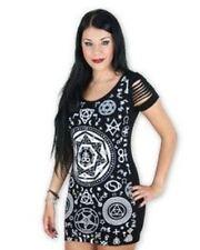 B16 Banned Black Skull Pentagram Mystical Punk Rock Gothic Tunic Top Mini Dress