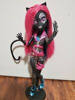 RARE Monster High Fierce Rockers Catty Noir Doll - Bedazzled Outfit, Stand