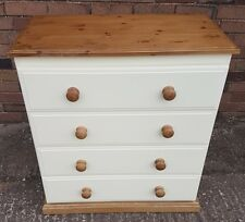 Country style Cream and Pine 4 drawer chest cabinet assembled made in UK