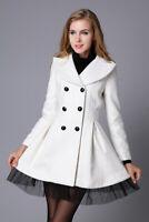 New Women's Lace Double Breasted Slim Coat Belted Long Fashion Jacket Elegant