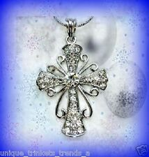 CRYSTAL SILVER CROSS NECKLACE PENDANT RELIGIOUS CHRISTMAS GIFT FOR HER WOMEN MOM