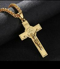 Men 18K Real Gold Plated Necklace Chain Large INRI Jesus Cross Crucifix Pendant.