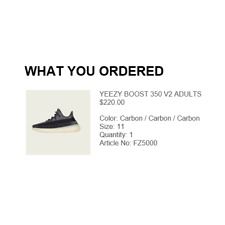 Adidas Yeezy Boost 350 V2 Carbon Mens Shoes Sneakers Size 11 ORDER CONFIRMED