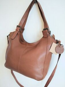 White Stuff Tan Genuine Real Leather Extra Large Bag Dual Strap New With Tags