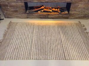 Striped Natural Cotton Jute Handloomed Cream Beige Washable Reversible Area Rugs