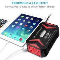 Pure Sine Wave Power Inverter, BESTEK 300W  DC 12V AC 110V 2 USB Charger Adapter