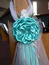 Wedding decor. Chair Bows, Pew Bows, Tiffany Blue, Silver, Church Aisle decor