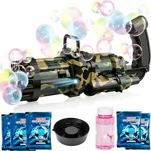 Kids Automatic Gatling Bubble Gun Toys Summer Electric Bubble Machine For Gift