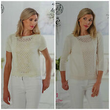 KNITTING PATTERN Ladies Short or 3/4Sleeve Lace Jumper Cotton 4ply KingCole 4787