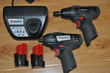 WÜRTH Master 12V Impact Wrench+Impact Driver+ Batteries+Char / Good Condition T#