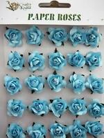 Adhesive Blue Paper Roses Flowers Card Making NEW