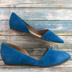 Naturalizer Womens Samantha Blue Suede D'Orsay Pointed Toe Flats Slip On 9.5W