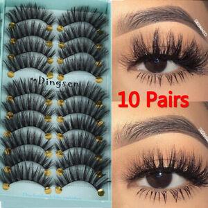 DINGSEN 10 Pairs 3D False Eyelashes Wispy Fluffy Natural Long Lashes Make up