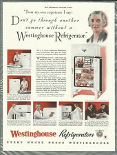 1934 WESTINGHOUSE REFRIGERATOR advertisement, electric ice box