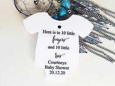 10 White Gift Tags Bomboniere Baby Shower Favour Personalised 10 Fingers