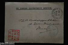 "Jap. Occup. Malaya - "" ON JOHORE GOVERNMENT SERVICE "" postcard cds 2604.11.22"
