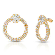 Fine 18K Yellow Gold 1.72 Ct Natural Diamonds 20 mm Round Hoop Earrings