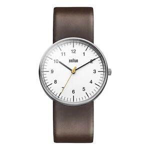 Braun Men's Classic Stainless Steel & Brown Leather Quartz Watch BN0021WHBRG