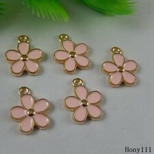30x Gold&Pink Alloy Enamel Cute Flower Petals Decor Crafts Charms Jewelry 50993