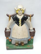 MASSIVE ANTIQUE Littco, Littlestown, Pa  CAST IRON DUTCH GIRL DOORSTOP ~ 13""