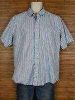 Bogari Blue Striped Button Front Short Sleeve Shirt Mens Size Large L