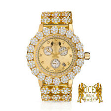 Genuine Diamond Stainless Steel Yellow Gold Custom Ice house Flower Watch W/Date
