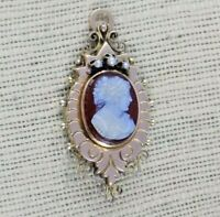 ANTIQUE VICTORIAN 10k Yellow & Rose Gold Hard Stone Cameo Pendant Brooch Filigre
