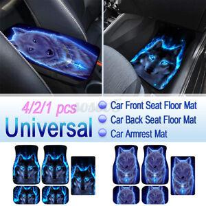 1/2/4pc Cool Wolf Pattern Universal Car Floor Mats Front Rear Carpet Armrest Pad