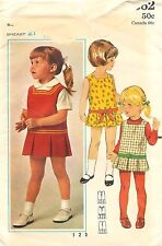 Vintage Butterick 4662 Sewing Pattern Toddlers Loose-Waisted Dress Jumper Size 3