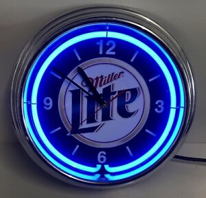 "MILLER LITE Beer Quartz Retro 11"" Wall Clock Neon Light Blue - Issues READ DESC"
