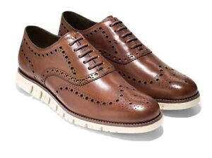NEW Cole Haan Zerogrand Leather Wingtip Shoes 13 M British Tan/Ivory $195