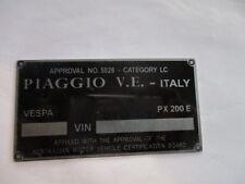Typenschild ID-plate data plate vespa PX 200 E Schild Roller