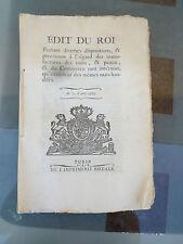 EDIT DU ROI CUIRS PEAUX COMMERCE VIEUX PAPIER 1784 TURIN