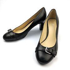Lauren Ralph Lauren Saffron Black Leather Buckle Pumps Mid Heel Size 7B