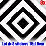 Sticker autocollant vinyle mural Lot de 8 Carreaux de ciment décoratif mosaïque
