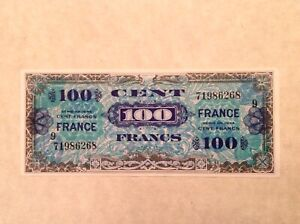 Rare 1944 France 100 Francs WW II Allied Military Currency Block 9 - P 123d