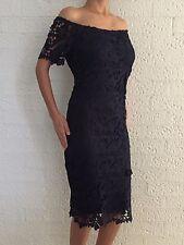 Navy Floral Crochet Off Shoulder Midi Formal Cocktail Evening Plus Size Dress