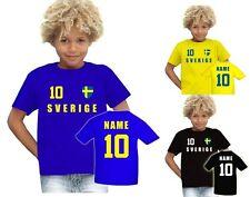 Schweden Sverige T-Shirt Trikot Look Fußball Jersey Kinder Name & NR EM 2016