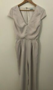 Kookai Jumpsuit, Deep V, Short Sleeve, Pockets, Beige, Colour, Size 36 (Aus 8)