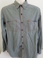 Robert Graham Jeans Gray Button Down Red-Trim Shirt sz SMALL