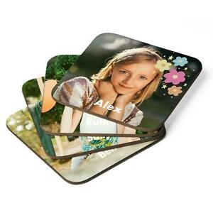 Personalised Photo Text Square Coaster