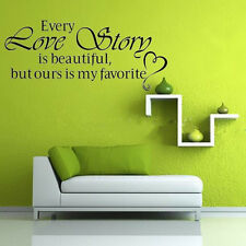 "Home Room""Every Love Story is Beautiful""Decor Vinyl Wall Decal Quote Sticker New"