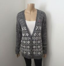 Hollister Womens Patterned Cardigan Size Medium Sweater Gray
