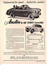 1952 AUSTIN A-40 SPORTS CONVERTIBLE ~ ORIGINAL PRINT AD