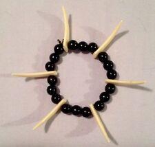 Black Plastic Bead Elastic Bracelet Cream Tooth Teeth Costume Jewelry