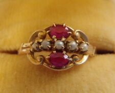 ANTIQUE VICTORIAN OSTBY BARTON 10K ROSE GOLD RUBY SEED PEARL RING SZ 5