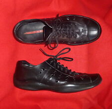 PRADA Italy Black Leather Perforated Lace Up LR Sport Sneakers 42 9