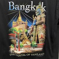 Joligolf Bangkok The Capitol of Thailand Graphic Print Tshirt Size Large Black