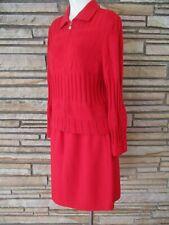 ST JOHN Red Skirt Suit Zip front jacket Straight Skirt sz 12