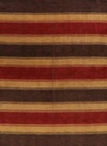 Contemporary Striped Gabbeh Oriental Area Rug Wool Hand-knotted Living Room 9x12